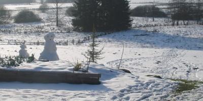 vue arrière du jardin  sous la neige